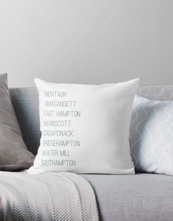Hamptons Towns Throw Pillow