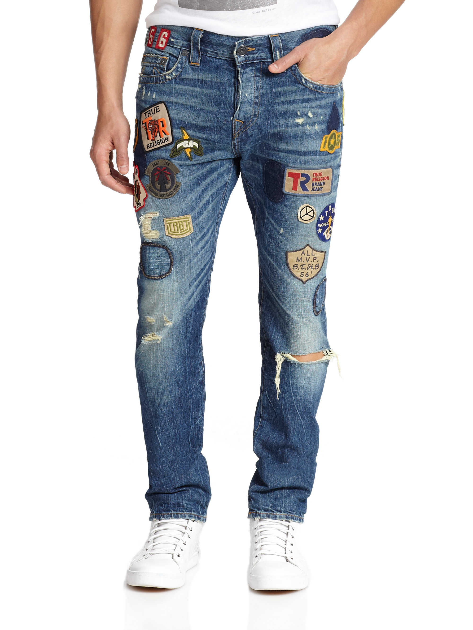 Hamptons to Hollywood - mens versace patch jeans_lyst