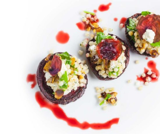 beets, goat cheese, and couscous